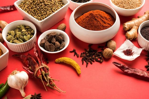 Poudre d'épices indiennes brutes dans des bols blancs sur fond coloré, mise au point sélective