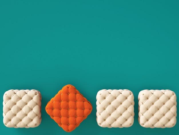Pouf orange parmi ceux en ivoire avec espace copie