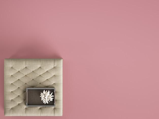 Pouf de table basse capitonné classique avec un décor avec copie espace. mise à plat