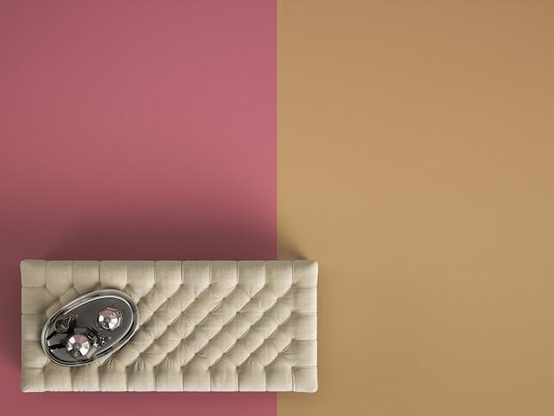 Pouf de table basse capitonné classique avec un décor de couleur pastel avec espace copie. mise à plat