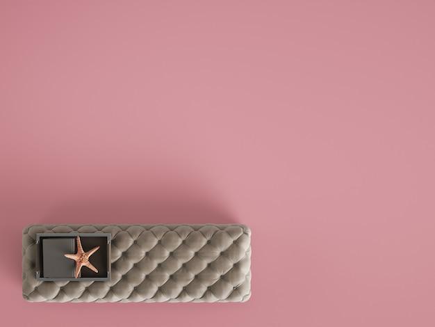 Pouf de table basse classique capitonné avec un décor de couleur rose pastel avec copie espace. mise à plat