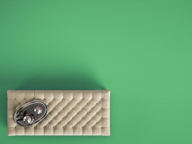 Pouf de table basse classique capitonné avec un décor de couleur vert pastel avec copie espace. mise à plat