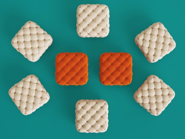Poufs orange parmi ceux en ivoire avec espace copie