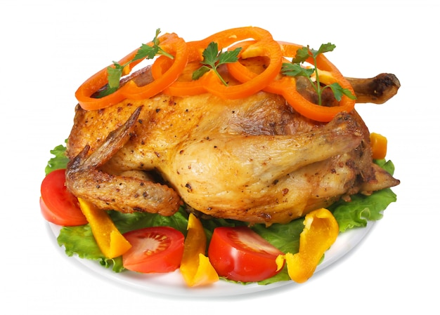 Poule frite avec des légumes