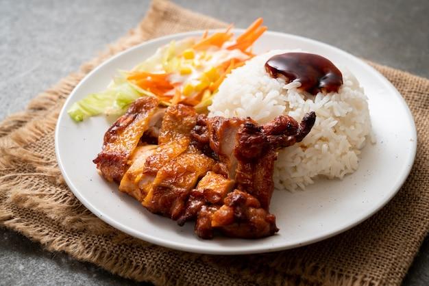 Poulet grillé avec sauce teriyaki et riz