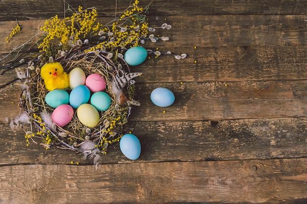 Poulet mignon jaune avec des oeufs de pâques dans le nid. dans le contexte d'une planche de bois.