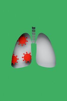 Poumons en papier avec des virus