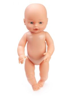 Poupée bébé isolée en blanc