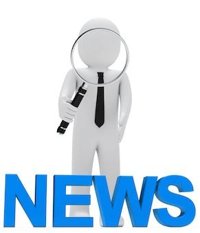 Poupée de chiffon avec une loupe géante regardant le mot «nouvelles» en bleu