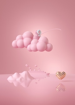 Poupée esquimau rose pêche l'amour sur nuage rose