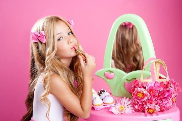 Poupée de mode pour enfants petite fille rouge à lèvres maquillage rose vanité