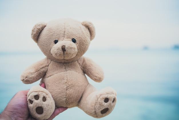 Poupée d'ours dans les mains. fond de plage et de la mer