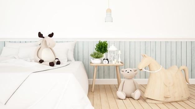 Poupée de rennes et d'ours dans la chambre ou la chambre des enfants
