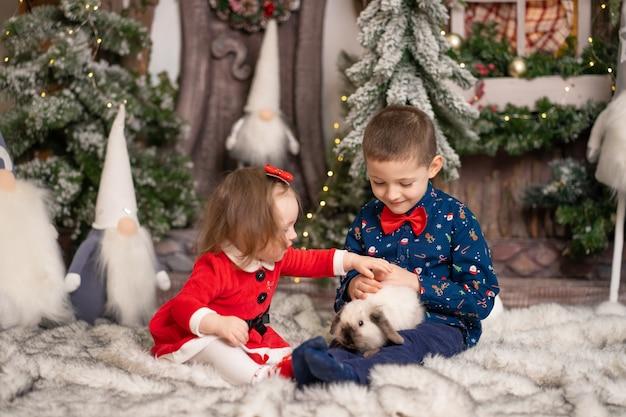 Pour les jeunes enfants, le père noël a donné un lapin duveteux pour noël. vacances en famille, conte de noël