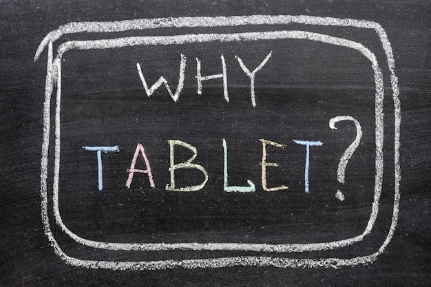 Pourquoi la question de la tablette écrite à la main sur le tableau par des craies de couleur