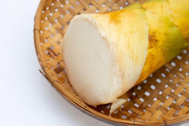 Pousse de bambou dans un panier en bambou