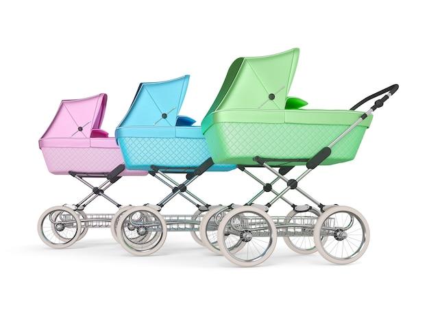 Poussette bébé design multicolore vintage. illustration 3d