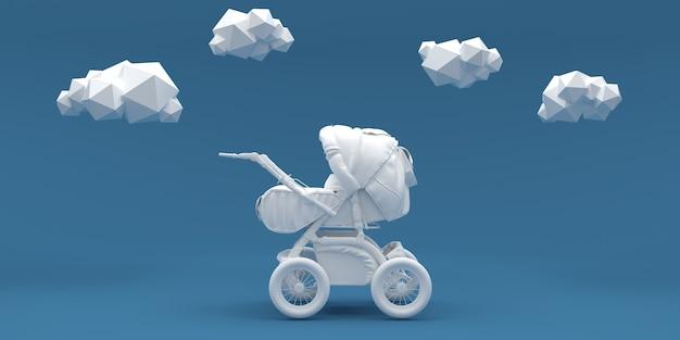 Poussette bébé et nuages sur bleu