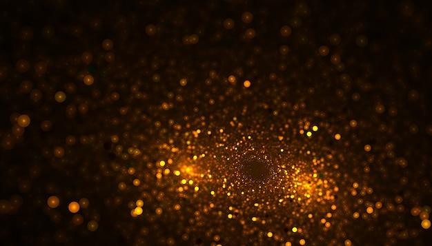 La poussière de particules scintille sur fond doré