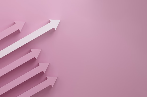 Le pouvoir de la femme. l'élu. flèche blanche dépassant des autres flèche rose. vers un concept de croissance réussi.