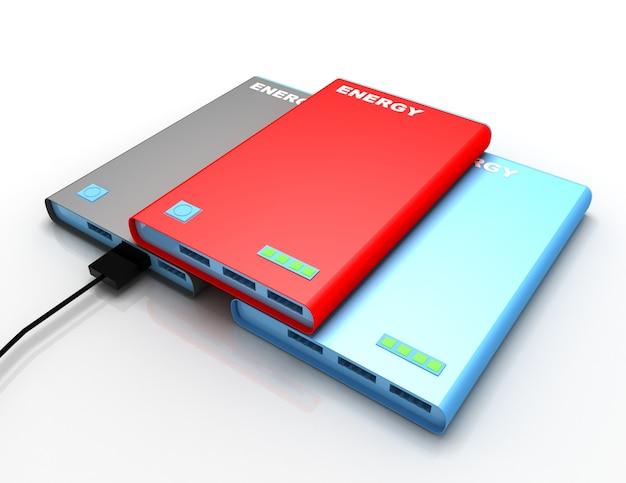 Powerbank avec câble de charge. illustration de rendu 3d