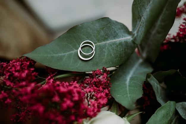 Précieuses et belles bagues de fiançailles en argent posées sur une feuille de fleur