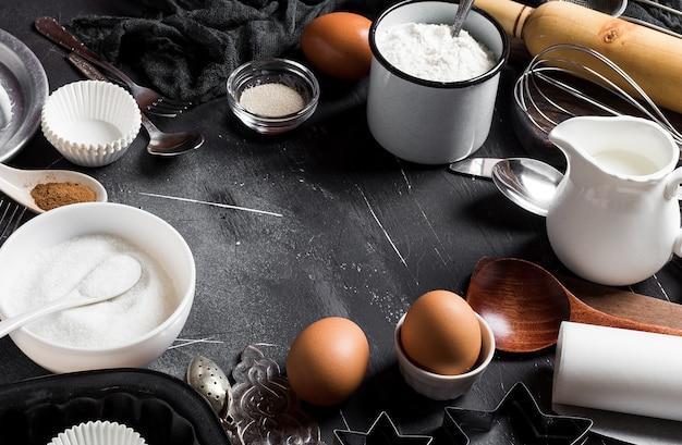Préparation cuisson des ingrédients de cuisine pour le cadre de cuisson