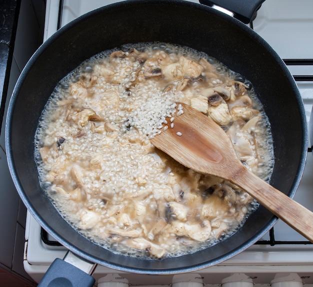 Préparation du risotto