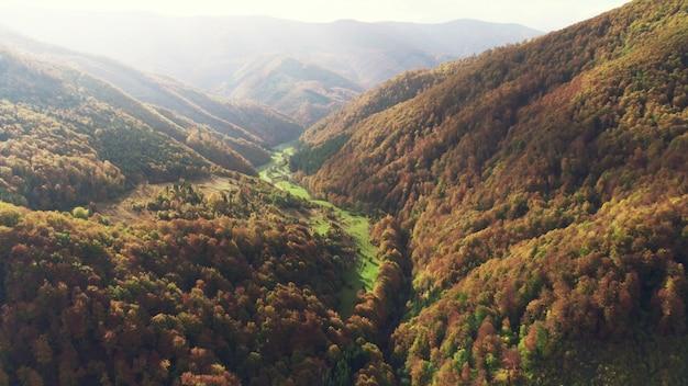 Prés verts au pied de collines couvertes de forêts d'automne
