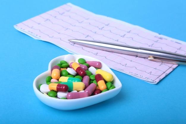 Prescription rx et pilules et capsules d'assortiments colorés sur assiette.