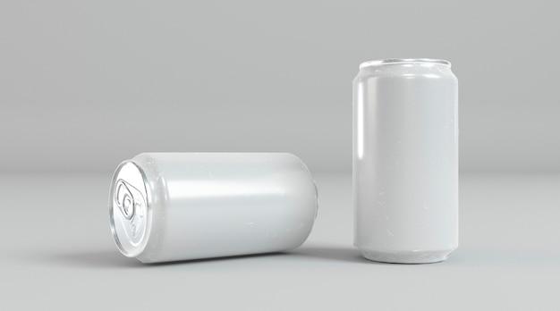 Présentation abstraite de canettes de soda en aluminium