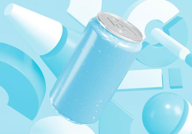 Présentation de boîte de conserve de soda abstraite