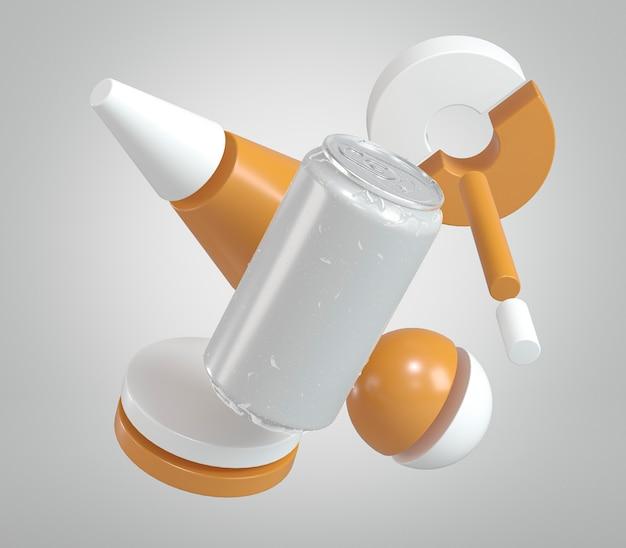 Présentation de canette de boisson en aluminium abstraite