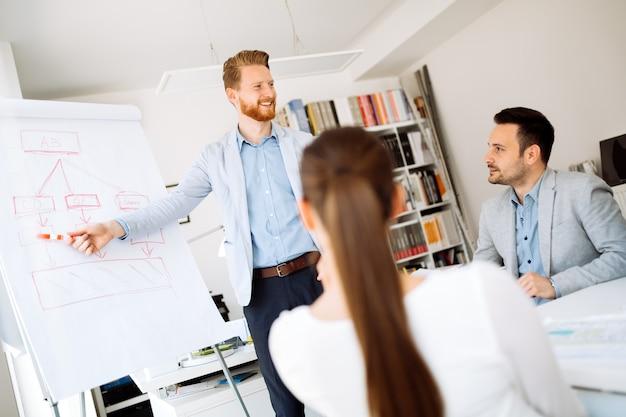 Présentation et collaboration par des gens d'affaires au bureau