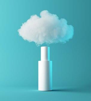 Présentation cosmétique d'hydratant naturel avec nuage, podium de scène simulé pour l'affichage du produit. notion hydratante. rendu 3d