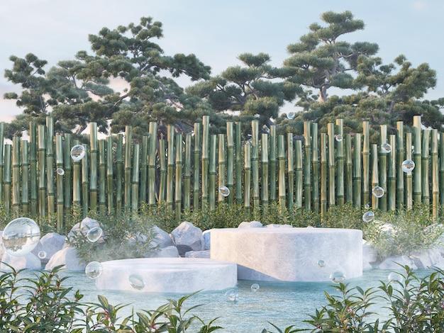 Présentation du produit concept de jardin onzen rendu 3d