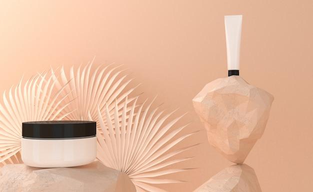 Présentation des produits cosmétiques. emballage vierge. rendu 3d