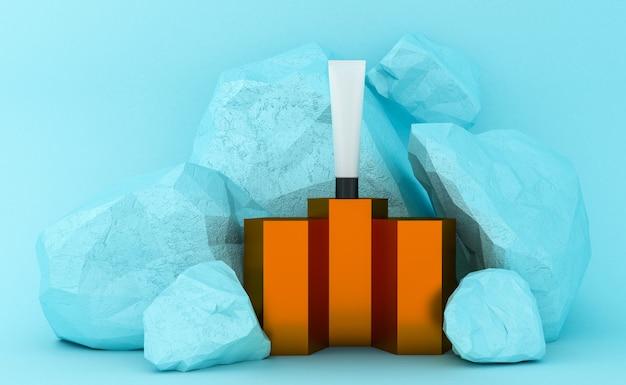 Présentation des produits cosmétiques sur le podium. emballage vierge. rendu 3d