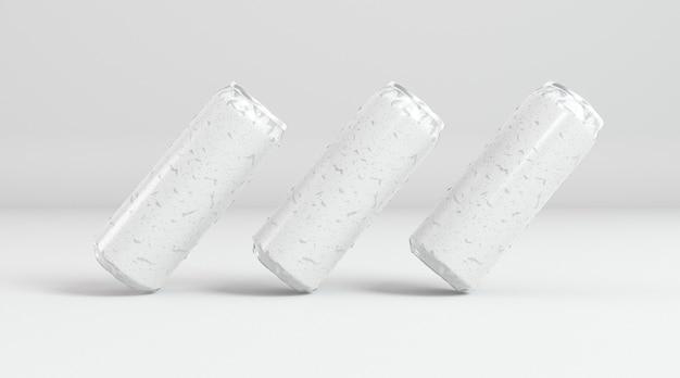 Présentation de trois canettes de soda en aluminium abstraites
