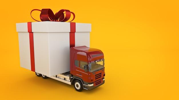 Présente le camion de concept de service de livraison avec un rendu 3d de boîte-cadeau