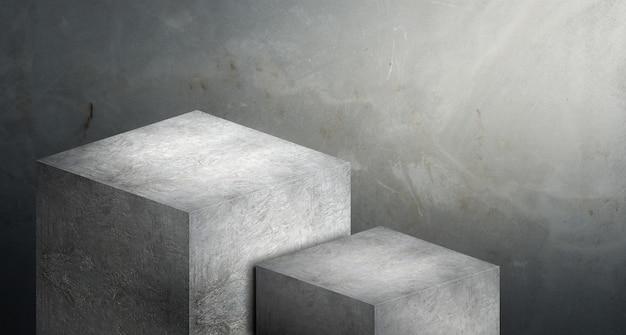 Présentoir béton gris podium en deux étapes pour la présentation du produit sur fond de ciment flou