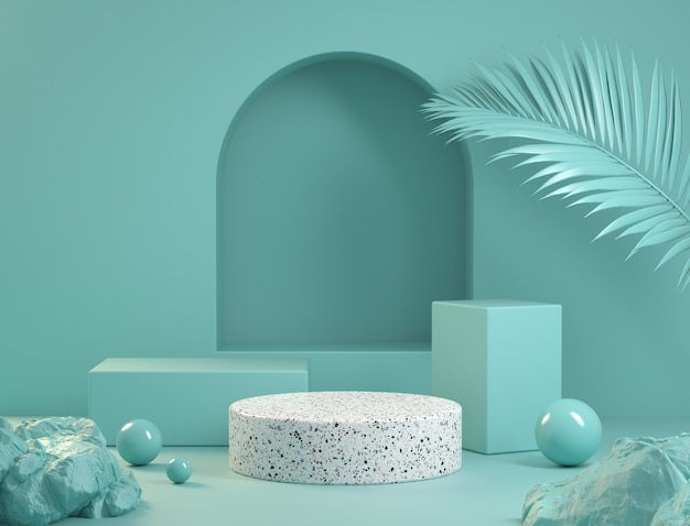 Présentoir bleu avec podium en marbre blanc