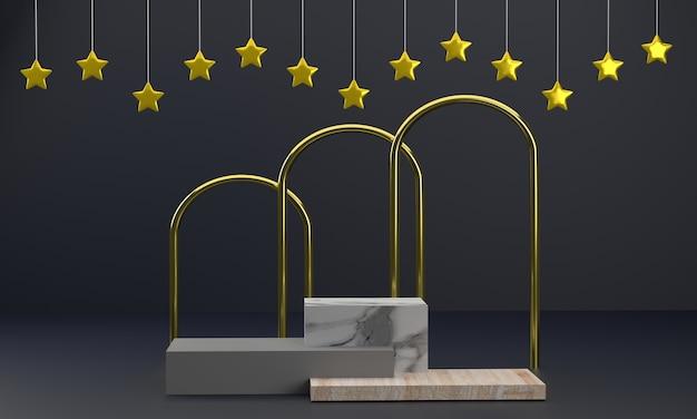 Présentoir carré en bois et marbre podium produit 3d avec piliers dorés lui donnant un caractère distinctif
