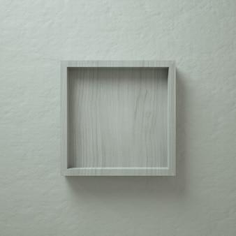 Présentoir mural en bois blanc et carré 3d