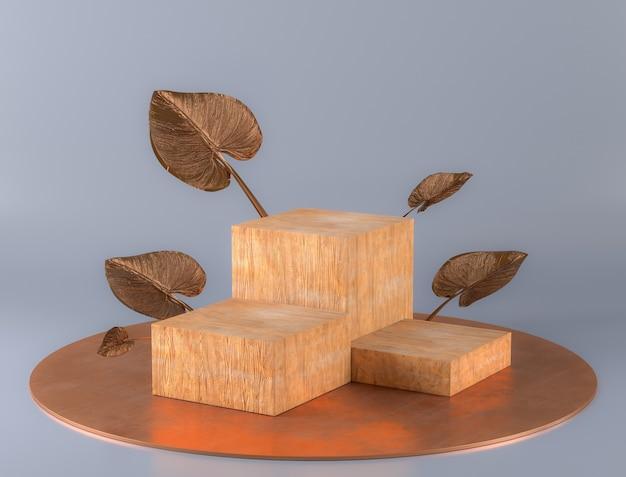 Présentoir de podium en bois avec décoration à la feuille d'or pour la présentation du produit