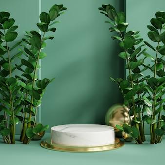 Présentoir podium avec feuilles tropicales