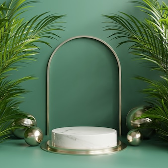 Présentoir sur podium avec fond de feuilles tropicales / mur vert.