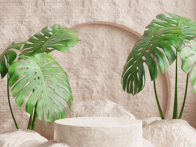 Présentoir podium avec pour la présentation du produit avec des feuilles de monstera