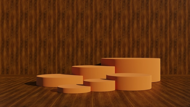 Présentoir ou podium pour produit d'exposition et salle de bois vide et plancher de bois.