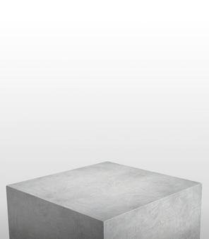 Présentoir de produit en béton gris avec fond blanc sur le dessus
